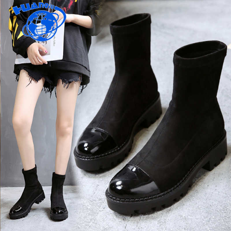 HUANQIU 2018 autumn/winter new fashion women boots thick with non-slip suede shoes women feminina Ankle Boots botas mujer ZLL525