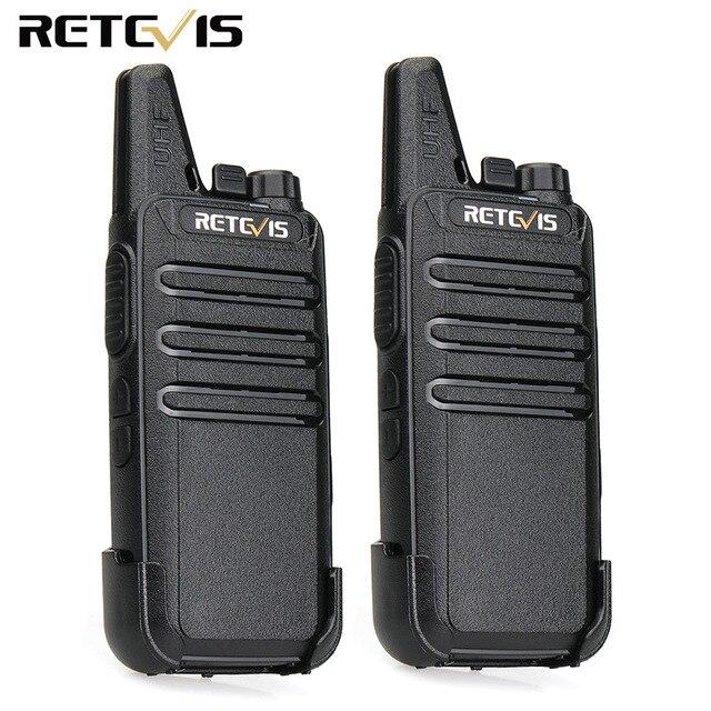 2pcs Retevis RT22 Mini Walkie Talkie Radio Station 2W UHF Two Way Radio Portable VOX USB Charger Handheld Transceiver Ultra-Thin