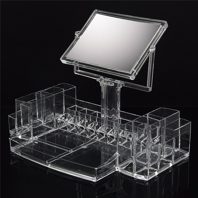 Large Clear Acrylic Cosmetic Makeup Display Organizer With Two Sided Mirror Desktop Transparent Drawer Storage Box & Large Clear Acrylic Cosmetic Makeup Display Organizer With Two ... Aboutintivar.Com