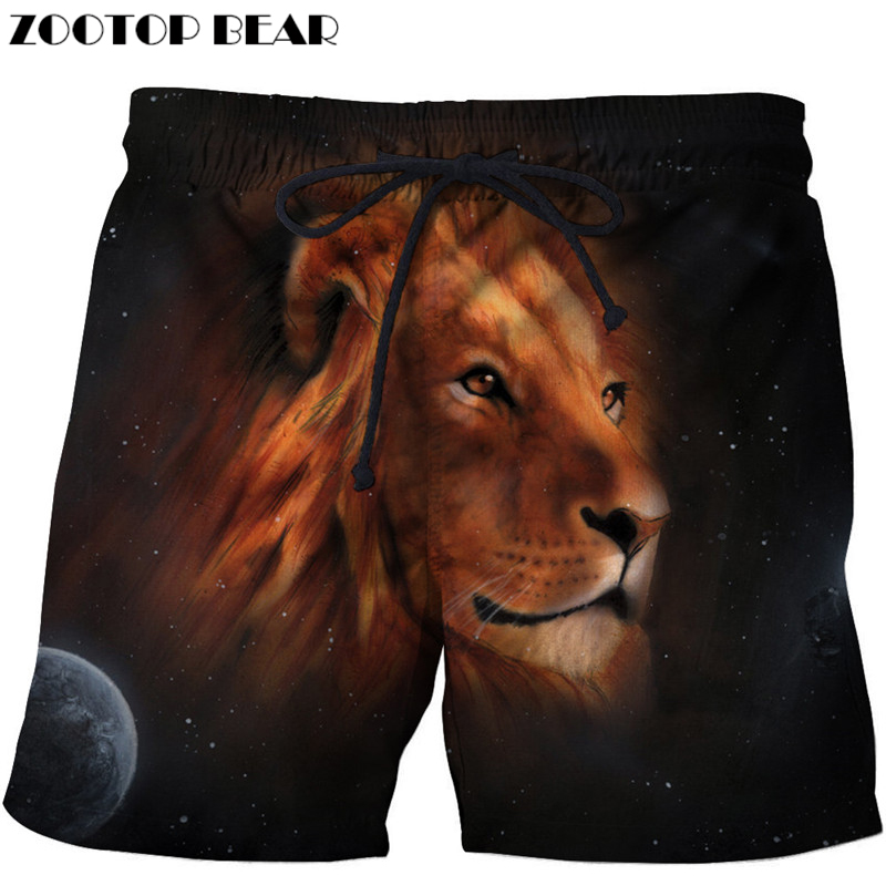 3d Lion Printed Beach   Shorts   Men   Shorts   3d   Shorts   Plage Summer Swimwear Quick Dry Pants   Board     Shorts   2018 Drop Ship ZOOTOP BEAR