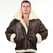 B3 shearling Leather jacket Bomber Fur pilot World II Flying aviation air milita