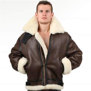d9d61446447 piecolour Leather jacket Fur pilot aviation Coat Men