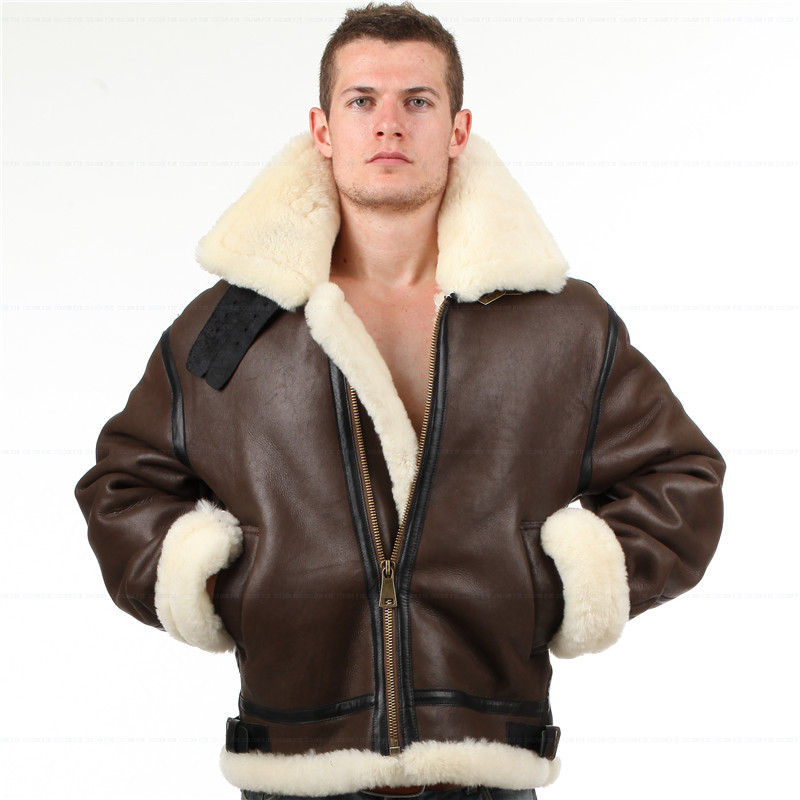 B3 shearling Leather jacket Bomber Fur pilot World II Flying aviation air military US Force The most warm Polar Coat Men Women