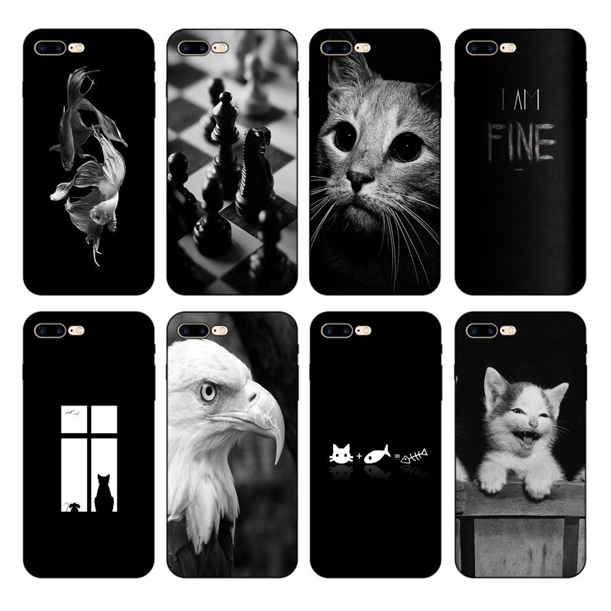 HOUSTMUST Fish Shark Eagle Cat Man Army Chess Black Soft Phone Case Cover For iPhone 6 6s 7 8 X 5 5S 6plus 7plus 8plus XR XS max in Half wrapped Cases from Cellphones Telecommunications
