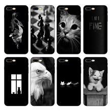 HOUSTMUST Fish Shark Eagle Cat Man Army Chess Black Soft Phone Case Cover For iPhone 6 6s 7 8 X 5 5S 6plus 7plus 8plus XR XS max