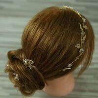 Vàng lá flower bridal tiara Headbands Bohemia cưới pha lê cô dâu cái mũ tóc cô dâu đầu ngọc trai mảnh