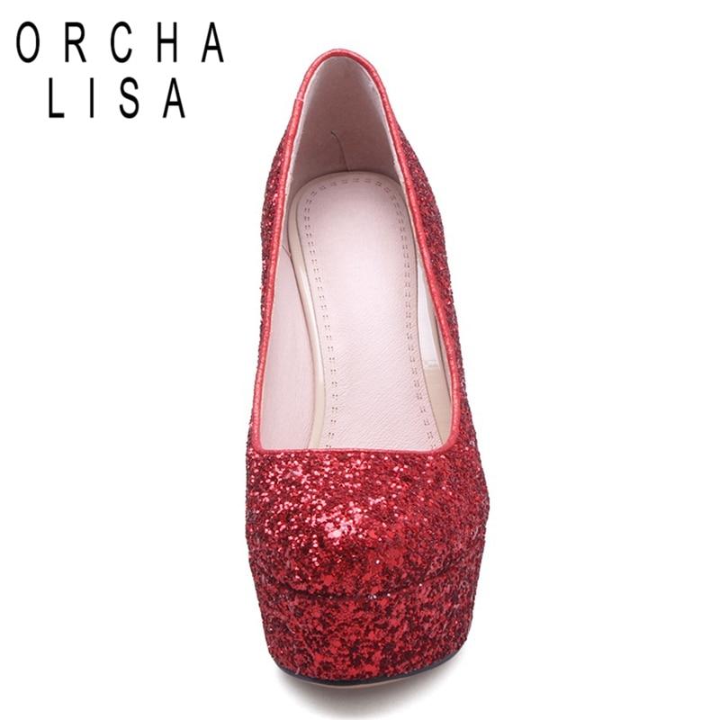 Plate Chaussures Orcha De Mariée C340 Pink white red forme Pompes Glitter Talons Paillettes Partie Rond Lisa Bling Tissu Hauts Bout Mariage Mince ratwzaq