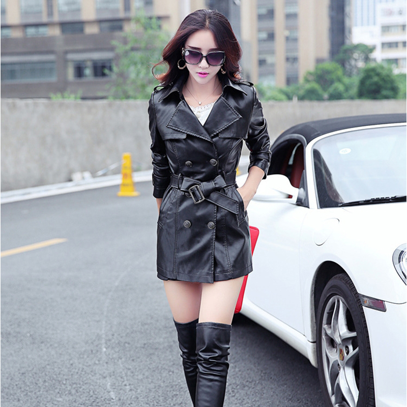 2017 Elegant Women PU Leather   Trench   Coat Fashion Women Spring Autumn Leather Long Coat Red Black Yellow Plus Size 3XL