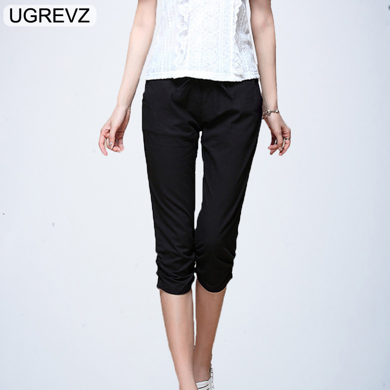 UGREVZ 2018 Plus Size M-6XL Harem   Pants   Women Solid Stretch Calf Length Summer Pencil   Pants   Casual   Pants     Capris   Trousers Female