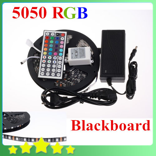 ФОТО Cool ! Waterproof 5050 Black PCB LED Strip RGB Black-matrix with Lights and 44Key controller + 12V 6A Power Source Free Shipping