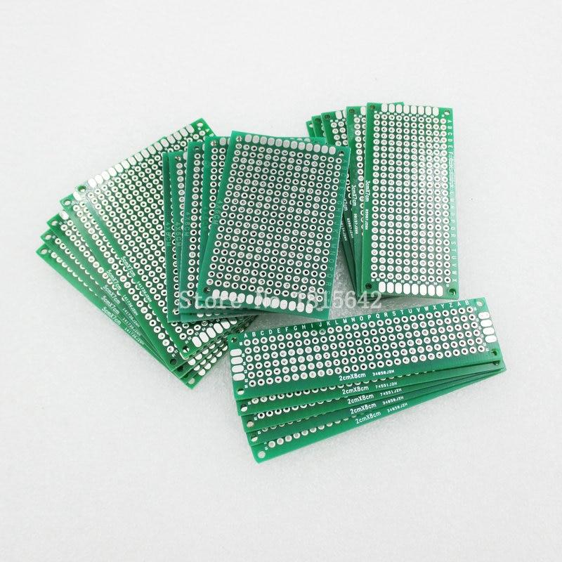 20 PCS/Lot 5x7 4x6 3x7 2x8 cm Double face Prototype bricolage universel Circuit imprimé carte de Circuit imprimé Protoboard PCB kit