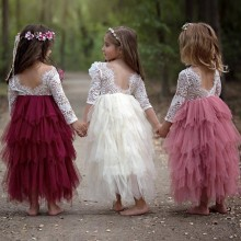 Summer Lace Baby Girls Dress Mesh Stitching Tutu Kids Dresses for Princess Party Birthday Clothes