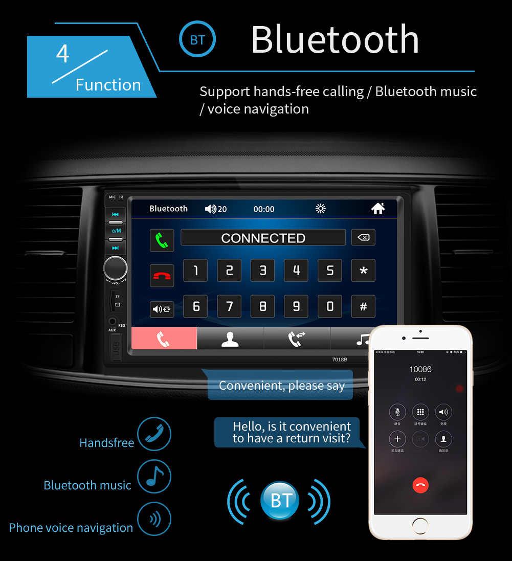 """2 Din รถวิทยุบลูทูธมัลติมีเดีย HD 7 """"Touch Screen Autoradio 2din Auto Audio สเตอริโอ MP5 USB TF FM กล้อง"""