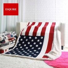 """שכבה כפולה עבה ארה""""ב ארה""""ב בריטניה אנגליה בריטי דגל צמר שרפה בפלאש פו פרווה טלוויזיה ספה מתנה שמיכה לזרוק שמיכות 50x60inch"""