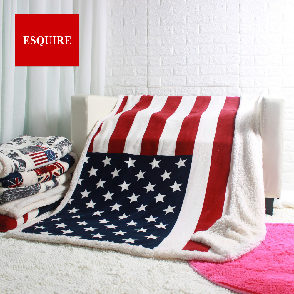 Doppel schicht dicke USA UNS UK ENGLAND BRITISCHE flagge fleece sherpa plüsch faux pelz tv sofa geschenk decke werfen decken 50x60 zoll