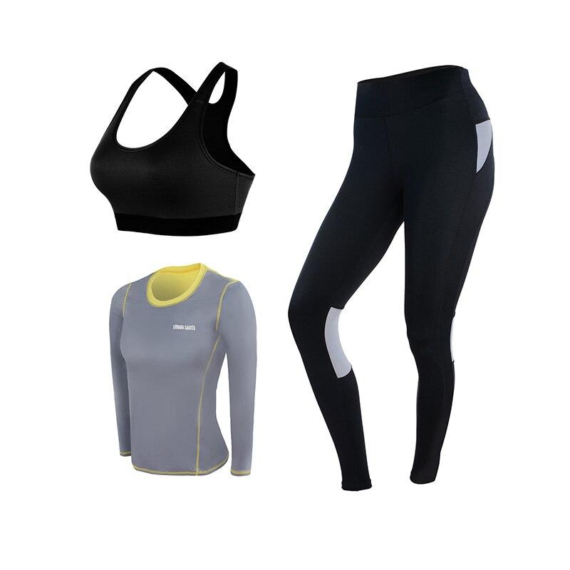 Yoga ensemble femmes Yoga vêtements noir Sport soutien gorge + pantalon + t shirt + manteau 4 pièces Fitness course Sport costume Gym vêtements Sportswear - 6