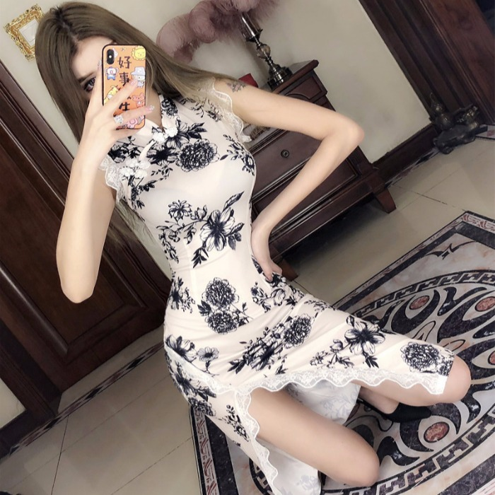 2019 summer elegant cheongsam dress chinese style sexy sleeveless backless qipao dress floral embroidery party daily long qipao