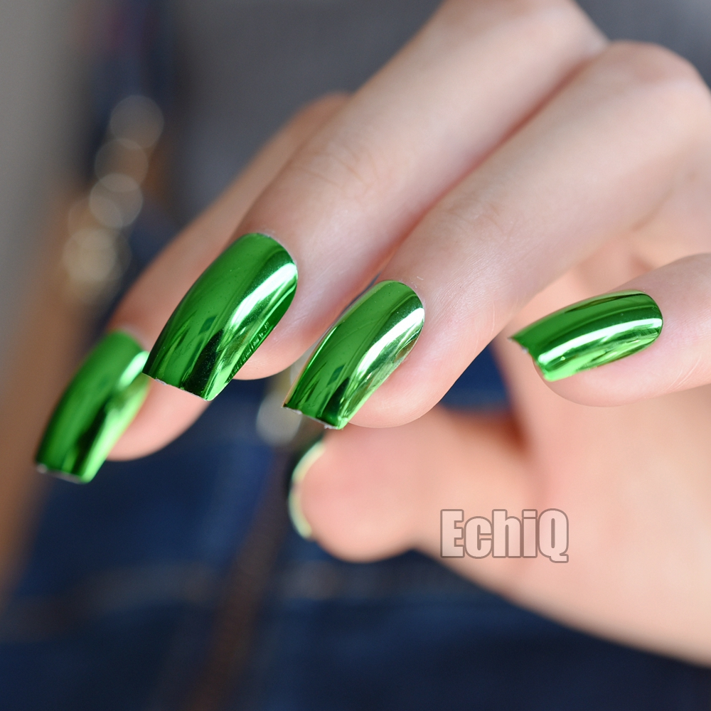 24pcs Green Mirror Acrylic Nails Metallic Long Size Faux Ongles Flat ...