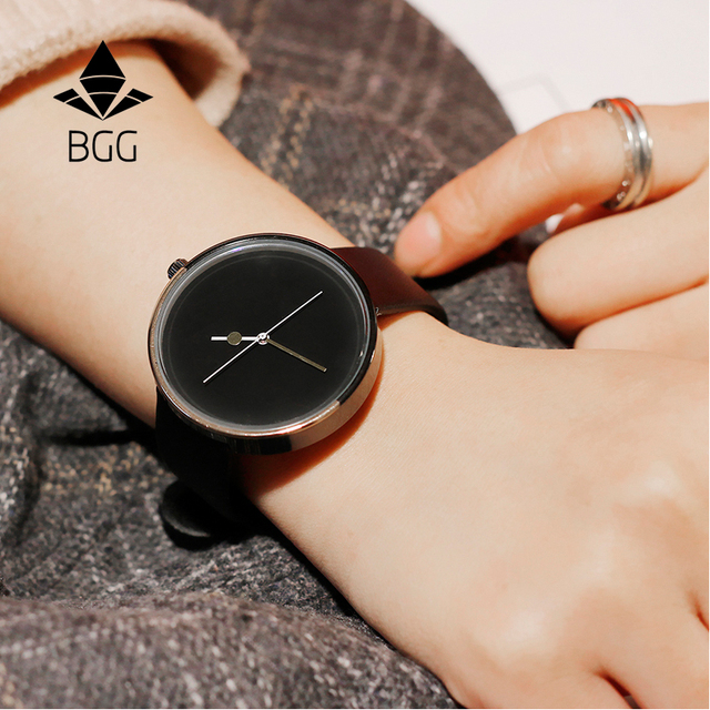 Minimalist creative quartz women watch BGG brand fanshion design hands simple fe