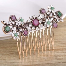 Vintage Turkish Wedding Hair Accessories For Bride Rhinestone Crystals Flower Floral Hair Combs Hair Jewelry For Women Girls