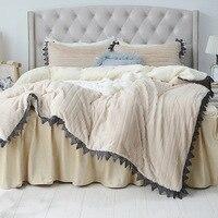 Кролик волос Постельные принадлежности комплект Зимний кашемировый утепленный флисовый постельное белье оборками кровать юбка верблюд ре