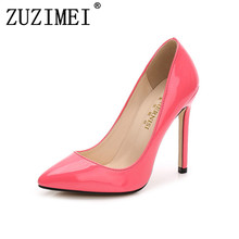 Brand Women 11CM Fetish High Heel Pointed Toe Pumps Plus Size 42 43 44 45 46 Blue Thin Heels Scarpin Valentine Shoes(China)