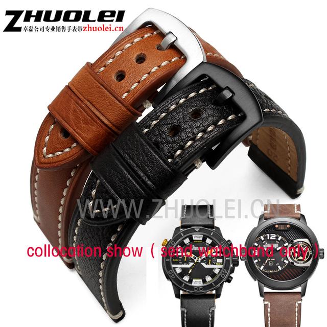 Nueva llegó marrón azul negro correa con hebilla de acero inoxidable grueso y suave cuero Genuino de las correas 22mm Para LG-G reloj