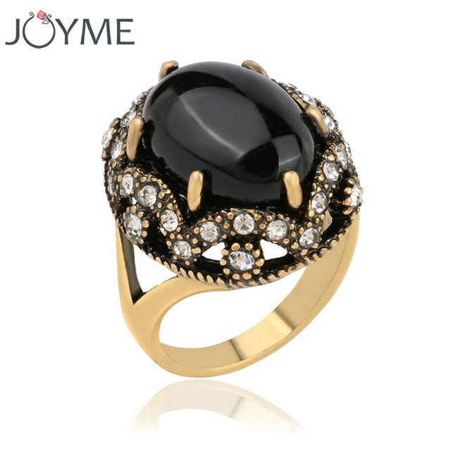 Joyme Antique Engagement Finger Black Ring Whole Gold Rhinestone Boho Ethnic Wedding Rings For Women Indian