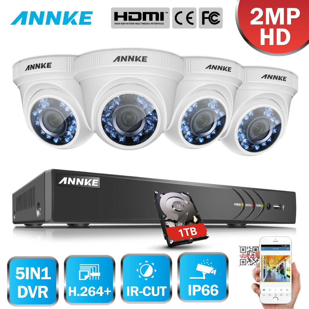 ANNKE 8CH 5in1 HD-TVI CVI AHD IP 3MP Surveillance DVR System And 4 Pcs 2.0MP Weatherproof Security Cameras With Super Day Night annke 3mp 4ch hd tvi cvi ahd ip 5in1 dvr vca 2mp hd smart ir day night vision bullet cctv camera video security system 3d dnr