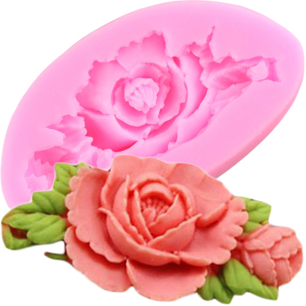 DIY Rose Flower Silicone Mold Sugarcraft Cake Decorating Tools Fondant Chocolate Candy Cake Baking Mould Resin Clay Moulds