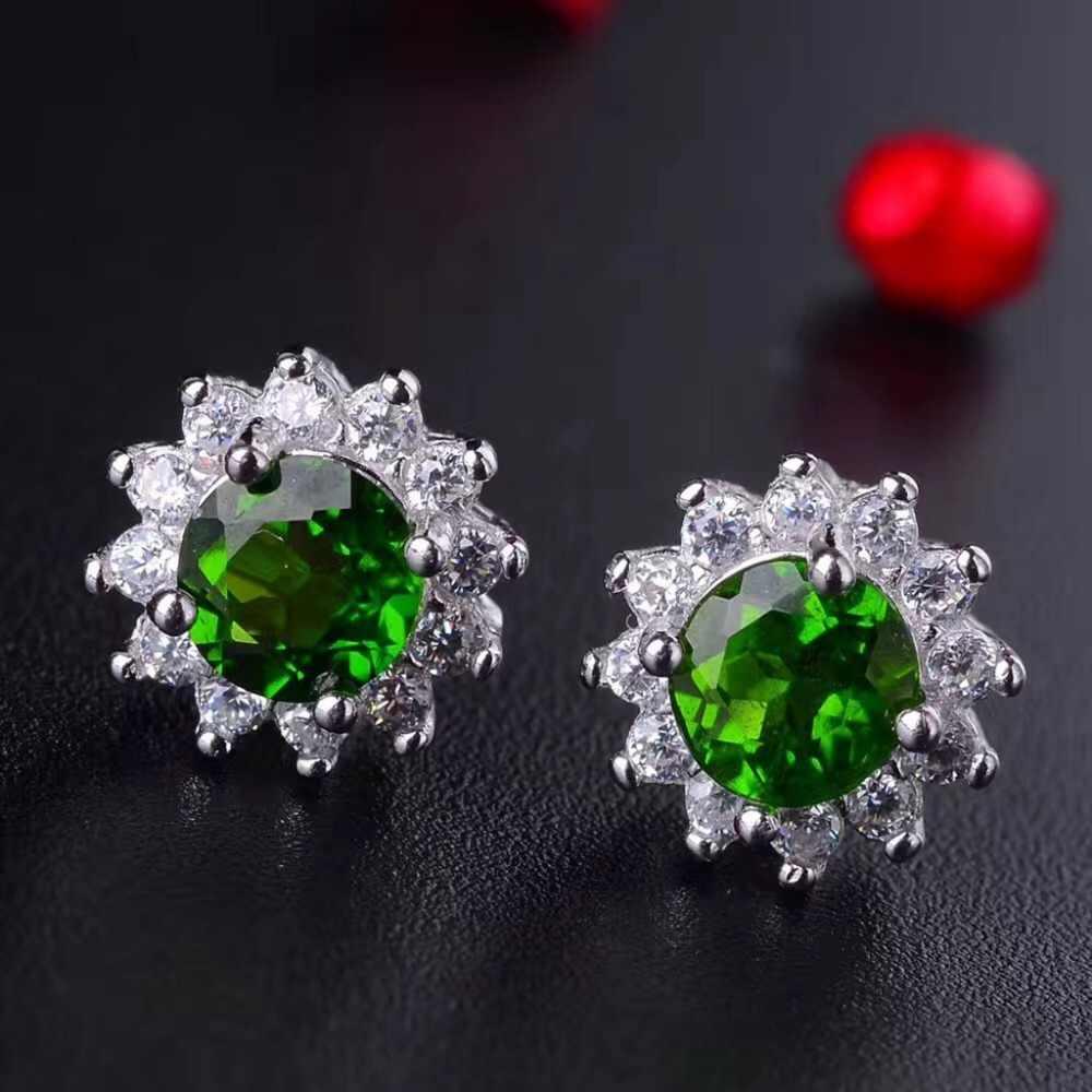 [MeiBaPJ טבעי Diopside חן עגילי טבעת ושרשרת לנשים אמיתי 925 סטרלינג כסף ירוק אבן תכשיטים סט
