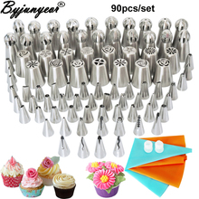 90PCS Stainless Steel Nozzles Tulip Icing Piping Nozzles +Globular Pastry Nozzl Set For Cake Decorating Sugar Craft Tool CS096 sophronia 90pcs set pastry nozzles and korean style stainless steel pastry piping nozzles tips russian tulip set cs096