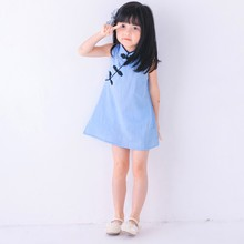 2018 Chinese Style Baby Girls Dress Flower Print Kids Cotton Linen Sleeveless Dresses Party Costume Children Clothe