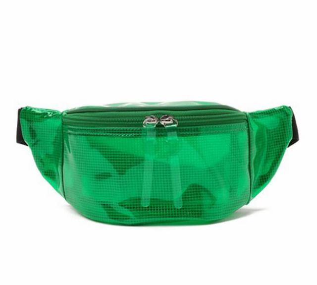 New luxury brand fanny Pack transparent belt bag clear pvc plastic nets waist bag women 2018 summer candy color