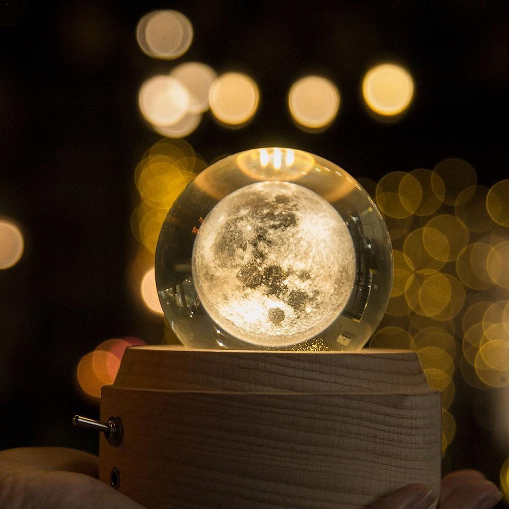 Romantic Moon Crystal Ball Wooden Luminous Music Box Rotary Innovative Valentine's Day Birthday Gift