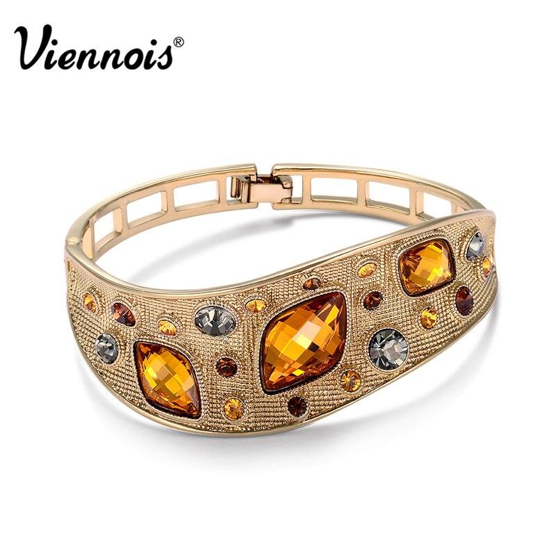 Prix pour Viennois Bijoux De Mode Café Or Couleur Alliage Femme Vintage Bracelets avec Top Autrichien Strass Orange Cristal