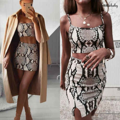 Hirigin mujeres 2 piezas conjunto mujeres 2019 nueva moda serpiente imprimir ropa verano Crop Top Set Sexy Bodycon Mini vestido