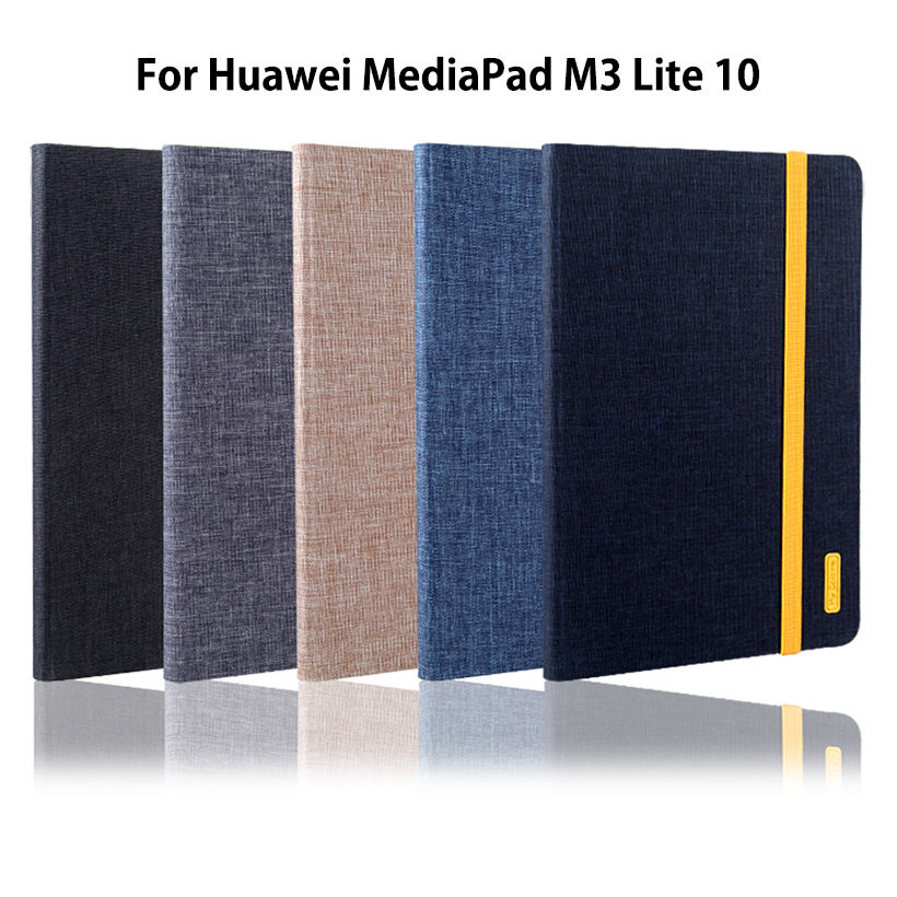 Case For Huawei MediaPad M3 Lite 10 10.1 BAH-W09 BAH-AL00 BAH-L09 Cover Funda Tablet Silicon+Cloth PU Leather Sleep Wake Shell luxury pu leather cover business with card holder case for huawei mediapad m3 lite 10 10 0 bah w09 bah al00 10 1 inch tablet