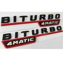 Black Red BITURBO TURBO 4MATIC Fender Flat Letters Badge Emblem Emblems Badges Decal Sticker for Mercedes Benz AMG 2017-2019
