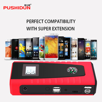 PUSHIDUN Portable Car Battery Jump Starter 600A Peak with Compass LCD Screen With Ordinary Clamps And Four in One USB Cable