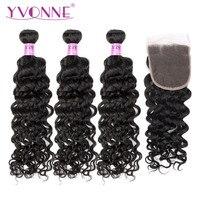 Yvonne бразильские виргинские волосы итальянские кудрявые пучки с закрытием 3 пучки натуральные волосы плетение с 4x4 кружева закрытия натурал
