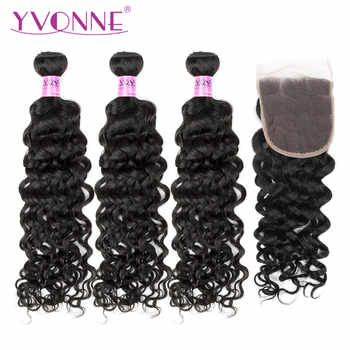 Yvonne Brazilian Virgin Hair Italian Curly Bundles with Closure 3 Bundles Human Hair Weave With 4x4 Lace Closure Natural Color - DISCOUNT ITEM  48% OFF All Category
