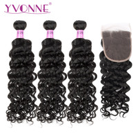 Yvonne Brazilian Virgin Hair Italian Curly Bundles with Closure 3 Bundles Human Hair Weave With 4x4 Lace Closure Natural Color