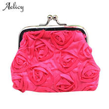 Aelicy Luxury Wallets and Purses Linen Womens Rose Flower Small Wallet Coin Purse Clutch Handbag Bag Card Holder Wallet(China)