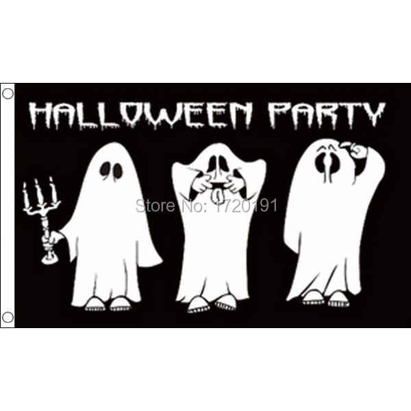 Halloween Teken 5ft * 3ft- 100% Polyester Gesp-Cartoon Ghost Vlag