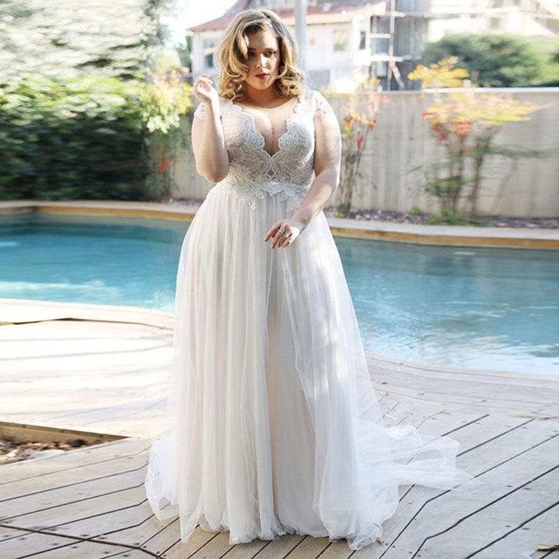Elegant Beach Wedding Dress V-Neck Plus Size Wedding Gowns Lace Boho Bride Dress Cap Sleeve A-Line Tulle Vestidos De Novia