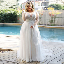 Elegant Beach Wedding Dress V Neck Plus Size Wedding Gowns Lace Boho Bride Dress Cap Sleeve A Line Tulle Vestidos De Novia