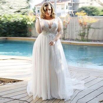 Elegant Beach Wedding Dress V-Neck Plus Size Gowns Lace Boho Bride Cap Sleeve A-Line Tulle Vestidos De Novia