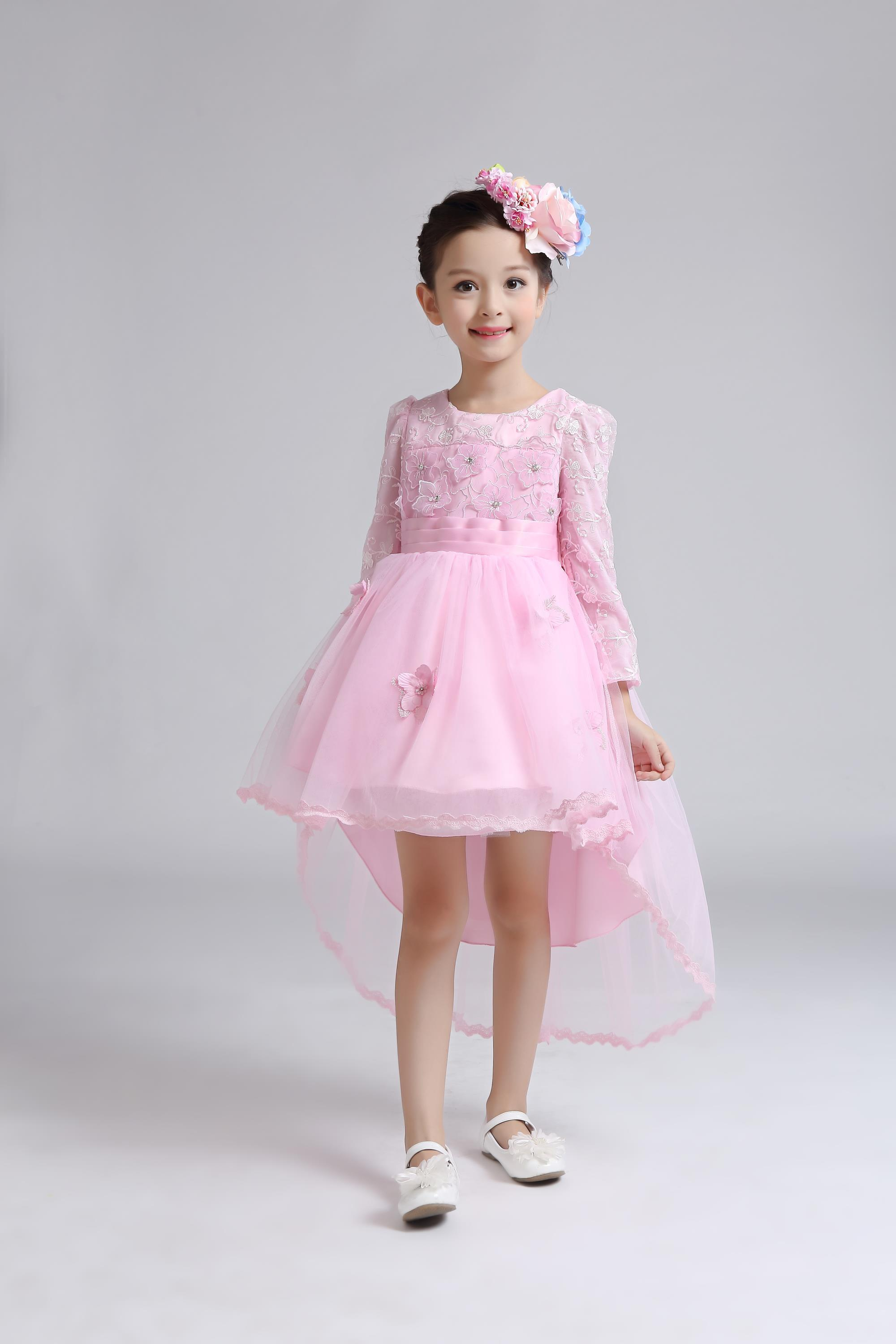 Long Sleeve Flower Girl Dresses Vintage Tulle Girl Birthday Party Princess Dresses Knee-Length Mother Daughter Dresses For Girls
