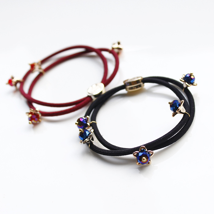 Han edition hair headwear Crystal beads all over the sky star hair ring hair rope horsetail rubber band han edition of the new bankcard yarn rope ribbon hair with hair hoop hair tire wholesale